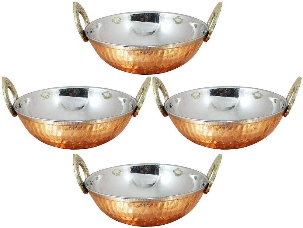 Set of 4, Indian Copper Serveware Karahi Vegetable Dinner Bowl with Handle for Indian Food, Diameter 13 Cm Approx