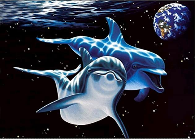 Aitmexcn Rhinestone Crystal Embroidery Pictures Cross Stitch for Home Wall Decoration Dolphin 40 x 30 cm DIY 5D Diamond Painting Kits Full Drill 15.7 x 11.8inch