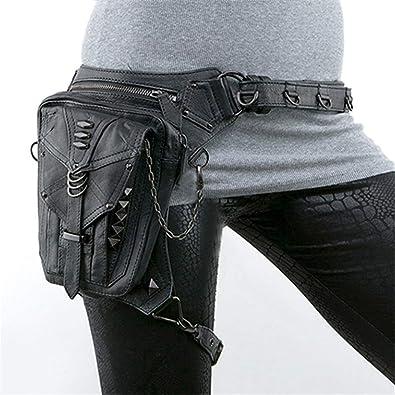 a8f4f7aa3 Amazon.com: Halloween Steampunk Retro Motorcycle Bag Lady Bag Retro Rock  Gothic Goth Shoulder Waist Bags Packs: Shoes