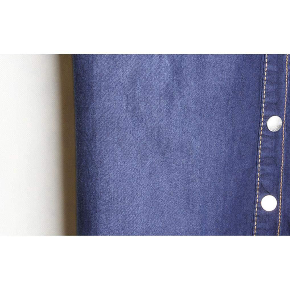07340df5f4737 OHQ Robe à Manches Courtes en Jean pour Femme Bleu Clair Femmes Denim Loose  Large Boutons Longues Seven-Sleeve Dress Casual Longue Ete Grande Taille  Chic ...