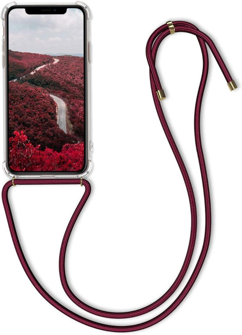 kwmobile Funda con Cuerda para Apple iPhone 11 Pro - Carcasa Transparente de TPU con Colgante en Transparente/Rojo Oscuro