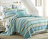 Cozumel Twin Quilt Set Teal Green Stripe Coastal