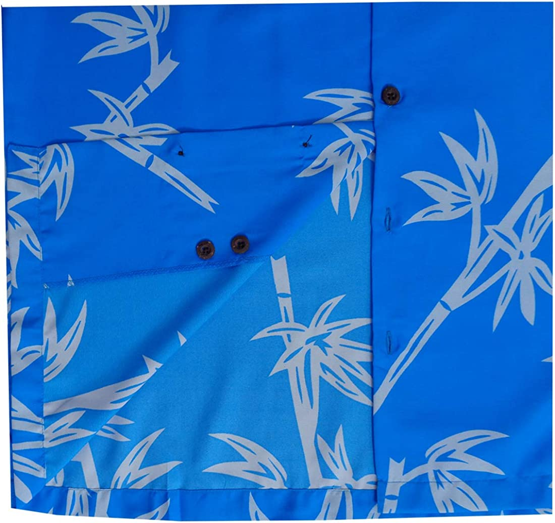 Alvish Hawaiian Shirts Mens Bamboo Tree Print Beach Aloha Party Holiday