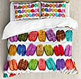 Colorful Duvet Cover Set Twin Size, French Macarons in a Row Coffee Shop Cookies Flavours Pastry Bakery Food Design, 4 piece Bedding Set Bedspread for Childrens/Kids/Teens/Adults, Multicolor