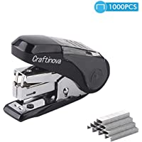 Craftinova Labor-Saving Mini Stapler Maximum, 20 Sheets Capacity, with 1000 Staples,Built-in Staple Remover and Staples Storage-Black…