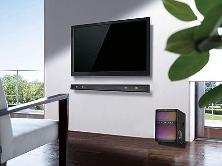 LuguLake 3 en 1 Barras de Sonido con Subwoofer, Amplificador de Audio para Cine en Casa, TV, Reproducción de Música (Versión de Actualización - BT, USB, FM, luz LED de Colores) -
