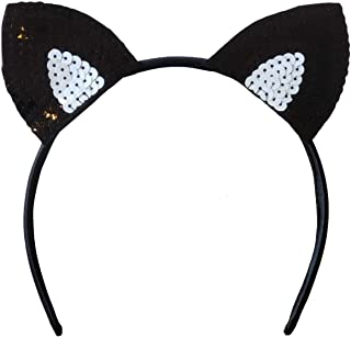 product image for Funfash Halloween Cat Ear Sequins Black Headband Costume Cosplay Adult One Size