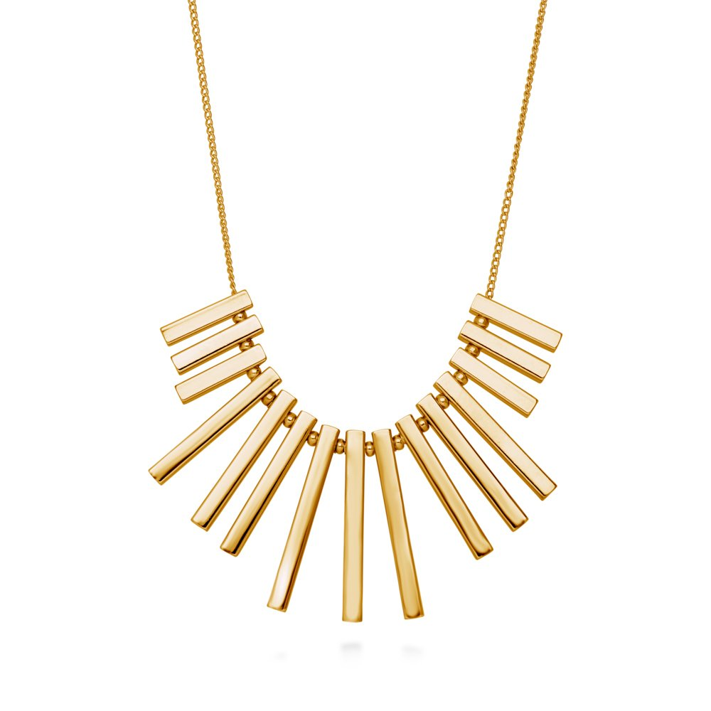 BERRICLE Gold Plated Base Metal Bar Fashion Bib Statement Necklace 16.5''+2'' Extender