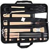 Chenci® 10Pezzi Portatile Kit BBQ Attrezzi in Acciaio Inox con Isolamento Maniglia di Legno Set Barbecue Utensili All'aperto