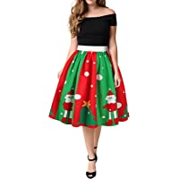 WLLW Women's Vintage Christmas Santa Claus Swing Pleated Flared Skater Skirt