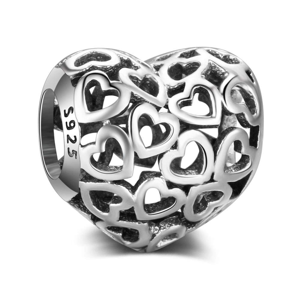 All Hearts Charm Authentic 925 Sterling Silver Beads Fits Pandora & All European Charm Bracelets & Necklaces La Menars S067