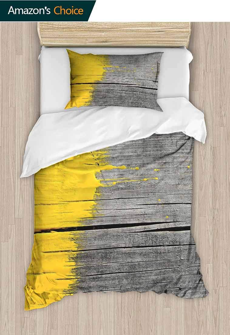 Yellow DIY Quilt Cover and Pillowcase Set, Ancient Wooden Board with Yellow Paint Splashes Brush Stroke Grunge Design Elements, Bedding Set with Zipper Ties 1 Duvet Cover 1 Pillow Shams Yellow Grey
