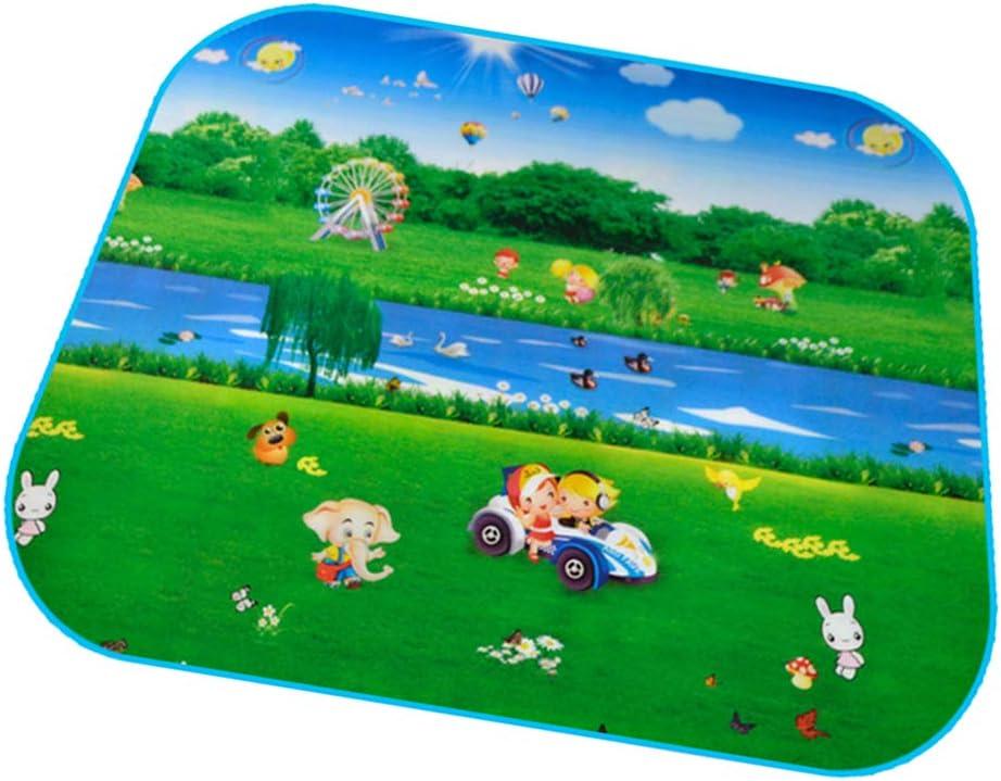 SM SunniMix Alfombrilla Portátil para Niños Alfombrilla de Suelo Alfombrilla de Piso para Gatear Alfombra de Juego - Verde, 120 x 102 cm