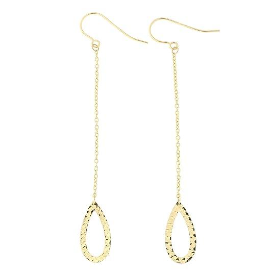 f93489f3d6864 Amazon.com: 14k Yellow Gold Diamond Cut Open Teardrop Dangle ...