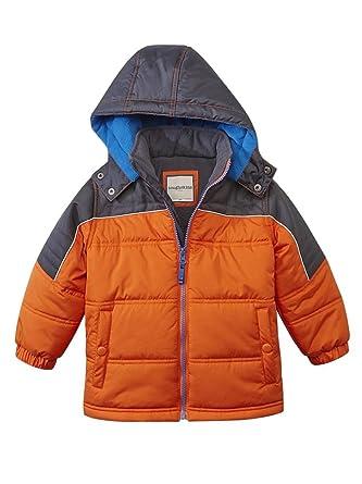2b8f4373f Toughskins Coat Toddler & Little Boys Orange & Gray Insulated Puffer Jacket  2T
