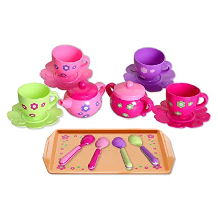 Amazoncom Marian Plastic Tea Party Set Tea Set For Little Girls