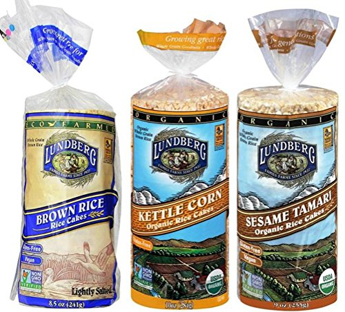 Brown Cake Rice (Lundberg Gluten-Free Vegan Non-GMO Rice Cakes 3 Flavor Variety Bundle: (1) Brown Lightly Salted, (1) Organic Kettle Corn, and (1) Organic Sesame Tamari, 9.5 Oz. Ea. (3 Total))