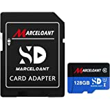 TF Card 128GB, Marceloant Memory Cards Class 10 TF Card with Adapter, High Speed Memory Card for Phone Camera Computer, Black/Blue, Standard Packaging