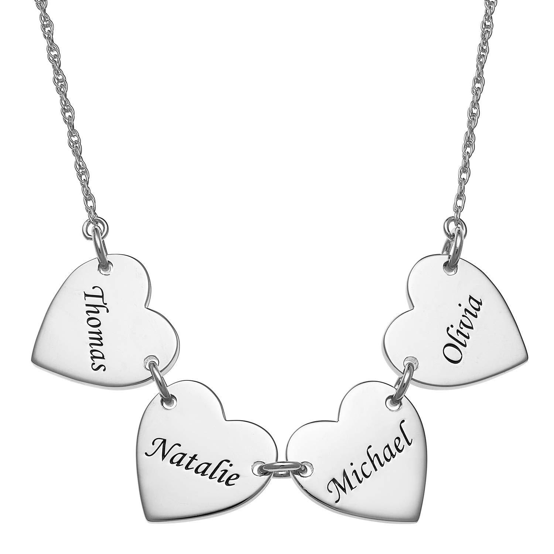 Dad /& 2 Kids Friendship Great Grandma Interlocking Infinity Engraved Pendant Jewelry LONAGO Personalized 4 Heart Name Necklace Custom Family Bonds Mom