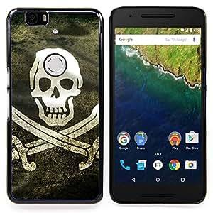 """Qstar Arte & diseño plástico duro Fundas Cover Cubre Hard Case Cover para Huawei Google Nexus 6P (Bandera de pirata de Grunge"""")"""