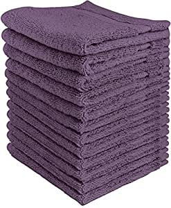 Utopia Towels Luxury Cotton Washcloth Towels Set (12 Pack, Plum, 12x12 Inches) Multi-purpose Extra Soft Fingertip towels, Highly Absorbent Face Cloths, Machine Washable Sport, and Workout Towels