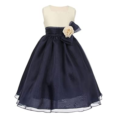 7555c263e7f Cinderella Couture Little Girls Ivory Navy Dupioni Organza Corsage Flower  Girl Dress 4