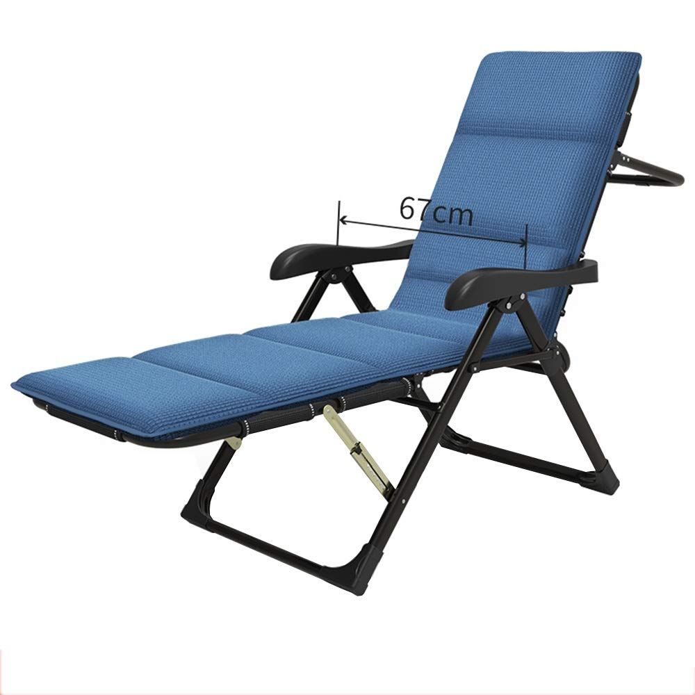 MEIDUO ロッキングチェア 0180°大型フラットリクライニングチェア、幅広の椅子、三角補強材、四季用ポータブルリクライニングチェア(オプションのクッション) (Color : Black+blue mat) B07SPHZYFF Black+blue mat