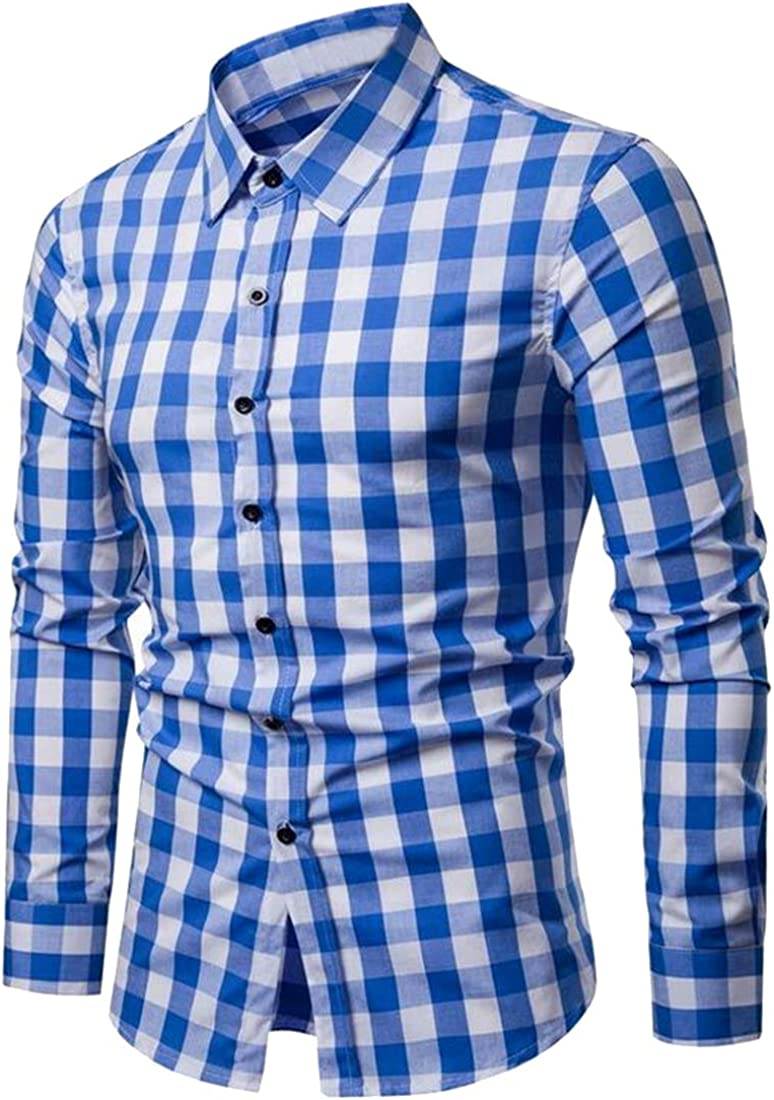 Fubotevic Men Plaid Print Slim Fit Long Sleeve Color Block Casual Button Down Flannel Checkered Shirt