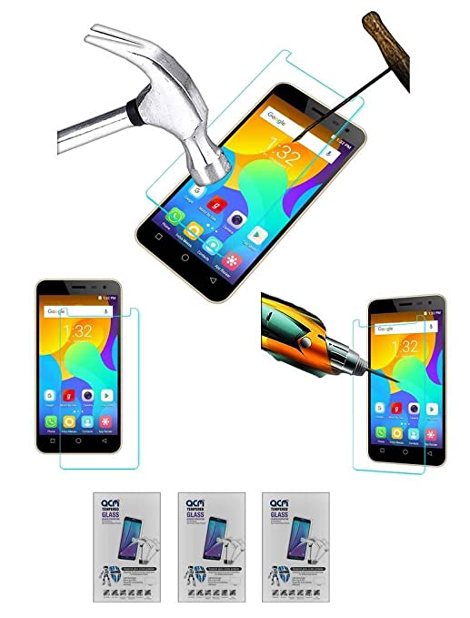 Acm Pack of 3 Tempered Glass Screenguard Compatible with Micromax Spark Vdeo Screen Guard Scratch Protector Tablet Accessories