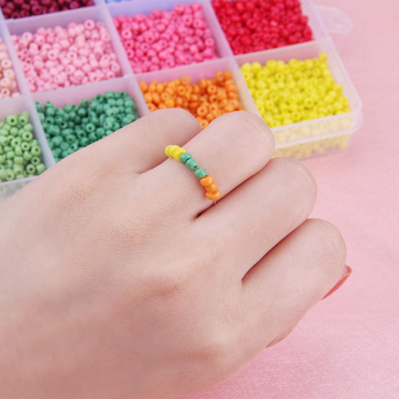 14400 Piezas Abalorios de Vidrio de Color de 3 mm 24 Colores de Abalorios para Hacer Pulseras para los ni/ños Abalorios Cristal para DIY Pulseras Collares Bisuter/ía ASANMU Mini Cuentas de Cristal