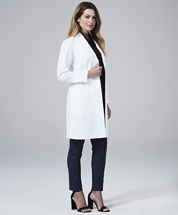 Medelita Womens Emma W. Classic Fit M3 White Lab Coat Professional Fit with Performance Fabric