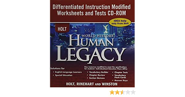 Workbook differentiated instruction worksheets : Amazon.com: Holt World History ~ CD-ROM ~ Human Legacy ...