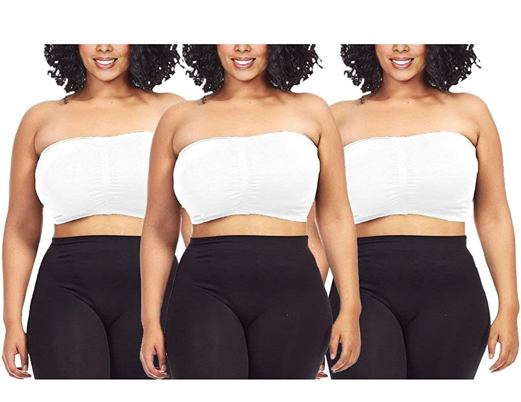 Dinamit Women's Plus Size Seamless Padded Bandeau Tube Top Bra 3PACK-3011-pp