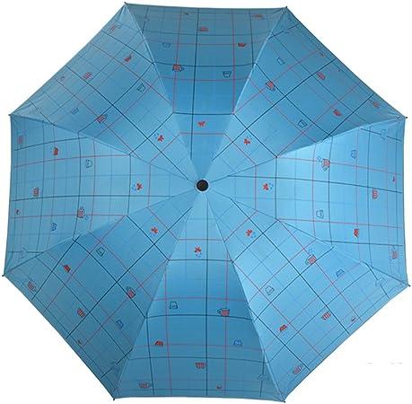Vinilo sombrillas Paraguas de protección uv Paraguas para la lluvia y soleado de doble uso Paraguas de cuadros-F: Amazon.es: Equipaje