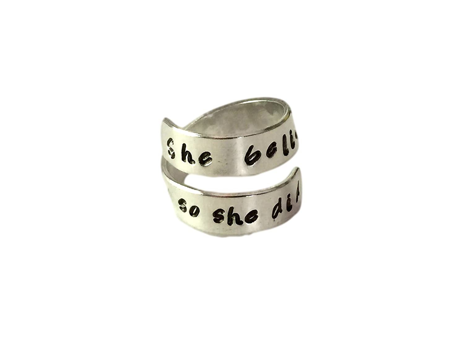 She Believed She Could, so She Did Spiral Twist Ring, Handstamped Aluminum Twist Wrap Ring, Graduation and Friend Gift Hand Trades
