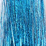 NEWONESUN Hair Tinsel Sparkle Holographic Glitter Extensions Highlights Party Wig (Sky Blue)