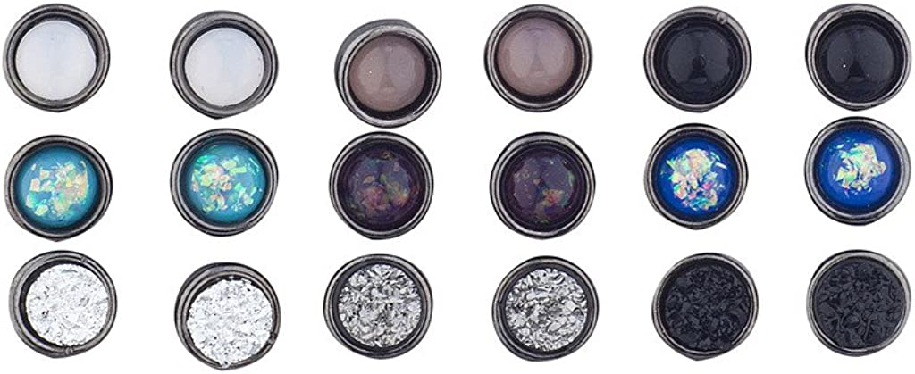 Lux Accessories Assorted Circle Stone Multi Earring Pack Set 9pcs