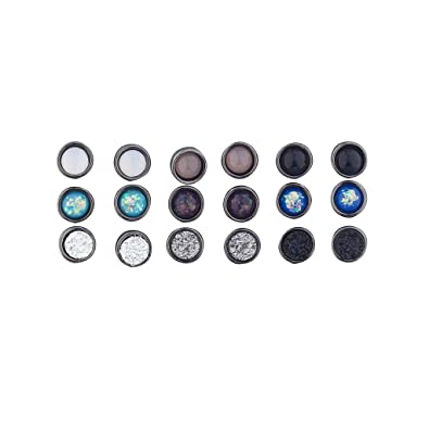 ace810e92 Amazon.com: Lux Accessories Hematite Assorted Circle Stone Multi Earring  Pack Set 9 pics: Jewelry