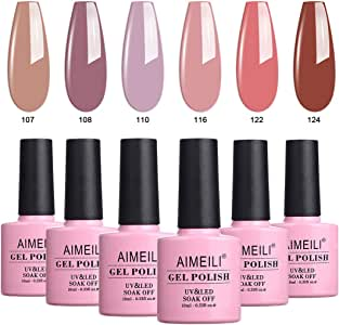 AIMEILI Soak Off UV LED Gel Nail Polish Multicolour/Mix Colour/Combo Colour Set Of 6pcs X 10ml - Kit Set 30