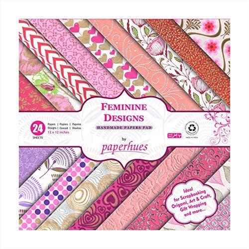 Paperhues フェミニンデザインコレクション スクラップブックペーパー 12x12インチ パッド 24枚