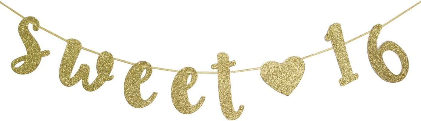Sweet 16 Birthday Banner Gold Glitter with Heart Sixteen Decoration 16th Birthday Pre-Strung Party Decor Supplies Cursive Bunting Photo Booth Props Sign