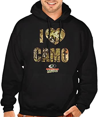 70bec5d1f7d79 Mossy Oak I Love Camo Men's Black Pullover Hoodie Sweater Small Black