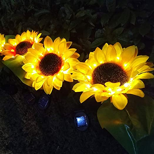 Led Solar Outdoor Waterproof Decorative Lights Sunflower lamp Lawn Ground Lamp Landscape Daisy Lamp Landscape Spotlight for Pathway Garden Patio Yard Driveway Pool Pack of 2 Yellow
