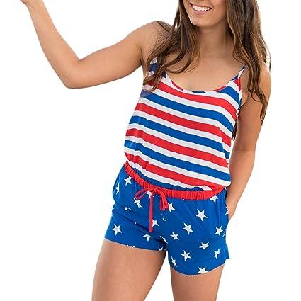 23e91e25f55 Women s Sexy American Flag Printed Spaghetti Strap Drawstring Beach Romper  Shorts Jumpsuit (S