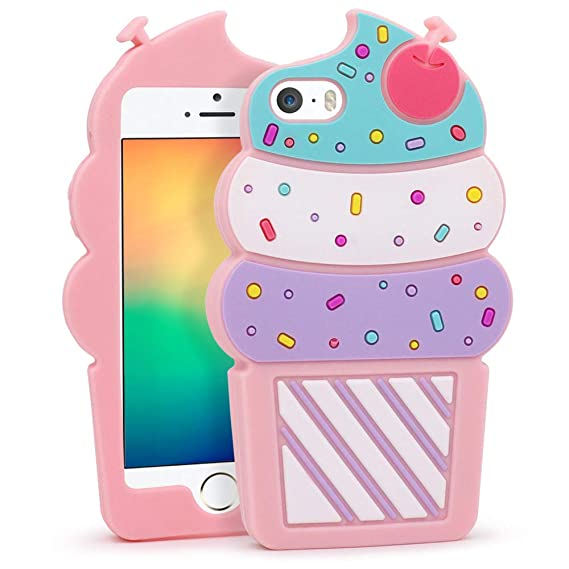 meet 4898d 26d52 iPhone 5S Case, iPhone 5 Case, iPhone SE Case, 3D Cute Cartoon Cherry  Cupcakes Ice Cream Shaped Soft Silicone Case Bumper Back Cover for iPhone  5S / 5 ...