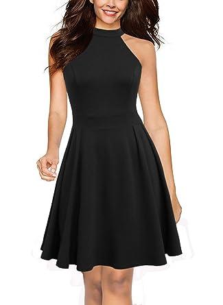 30662f6a24 Lyrur Women s Formal Halter Neck Skater Night Out Club Party Dresses Short  Black(XL