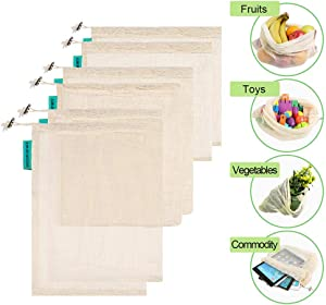 """Reusable Produce Bags, Organic Cotton Mesh Bulk Sachet Bags for Grocery Shopping Laundry Food or Storage with Tare Weight Tags, Double-Stitched Seams, Biodegradable, Eco-Friendly,6 Pack Large 17""""x11"""""""
