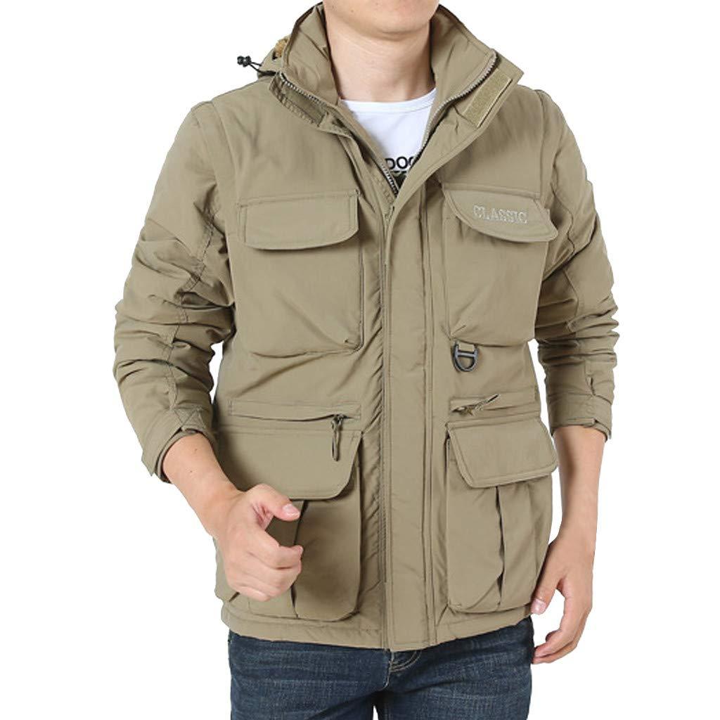 LUKALUKADA Men's Detachable Sleeve Hooded Outdoor Plus Velvet Mountaineering Sportswear Solid Zipper Pockets Coat Khaki by LUKALUKADA-Mens Coat