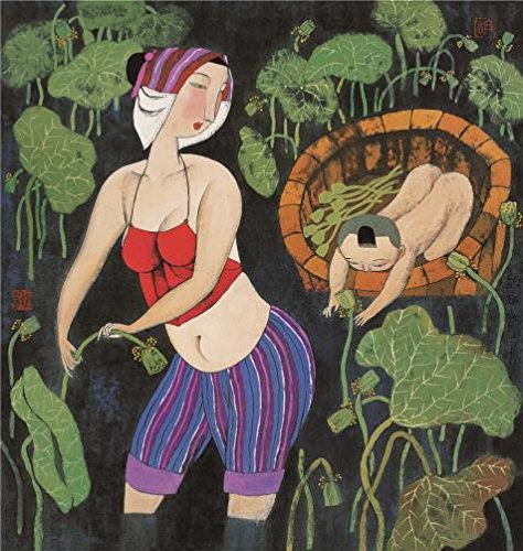 Oil Painting 'Hu Yongkai,A Mother Picking Lotus With Her Child,21th Century', 24 x 25 inch / 61 x 64 cm , on High Definition HD canvas prints is for Gifts And Dining Room, Game Room And Gym Decoration