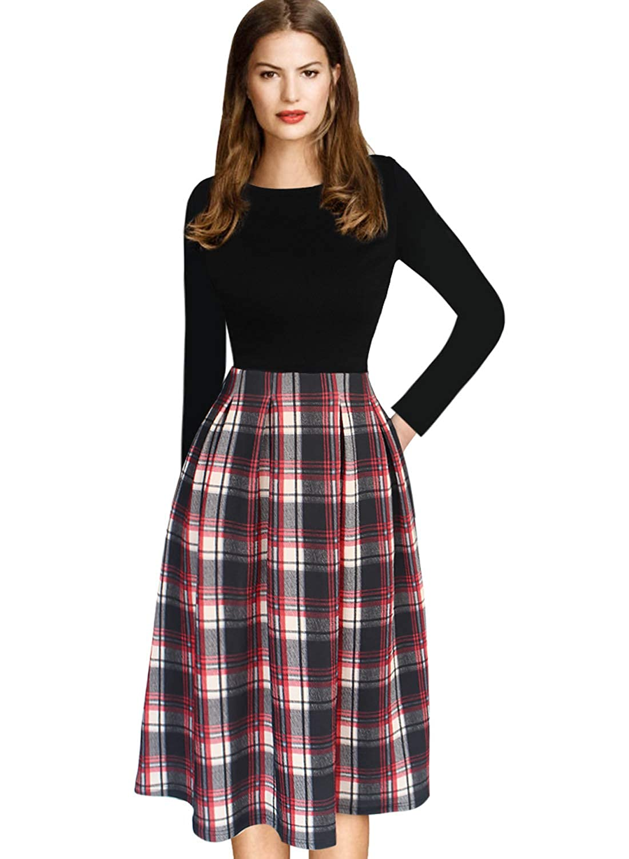 Black and Red Tartan VfEmage Womens Vintage Summer Polka Dot Wear To Work Casual Aline Dress
